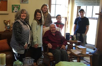 The upper elementary Sunday school class at Pontotoc FUMC visited with Mrs. Pat Campbell to deliver the love offering the children collected for her after she lost her home to a fire in November.